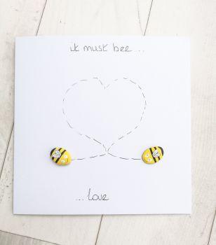 Bee - Bees Love Romantic Cute Pebble Art Card