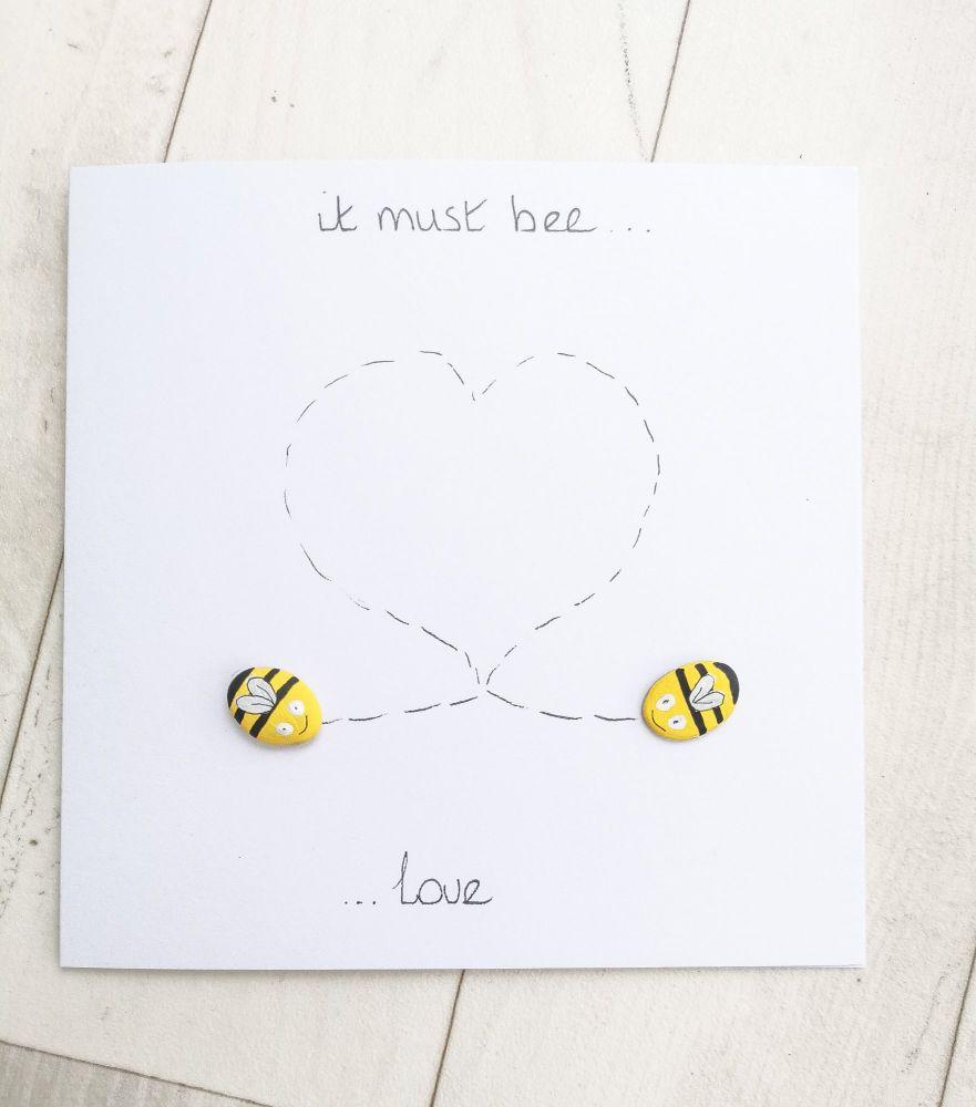 Bee Love Romantic Cute Pebble Art Card