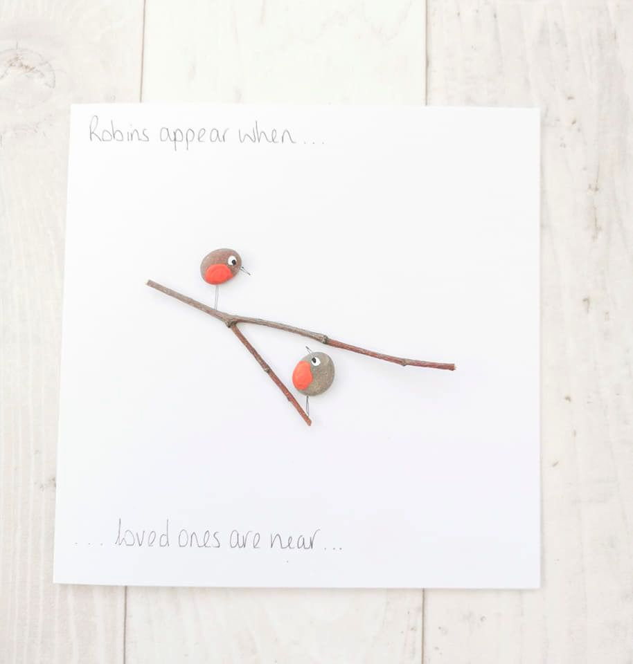 Christmas, Memorial Card Handmade Pebble - Robins Appear Loved Ones Are Nea