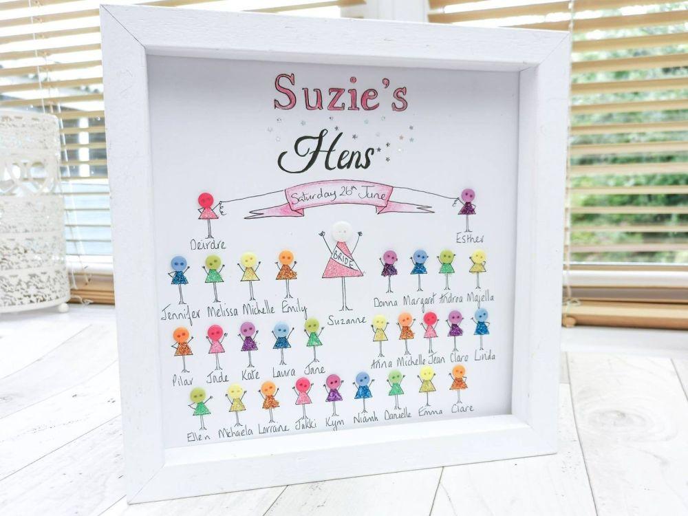 Hen Do Party Keepsake Personalised Frame Bride Wedding Gift Idea