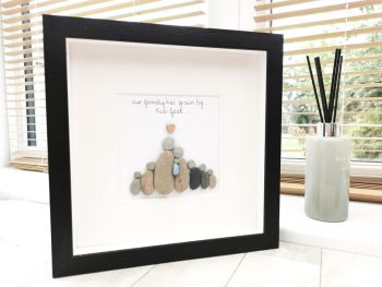 Family Pebble Art Picture - New Baby - Personalised And Framed