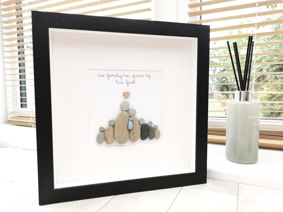 Christening, Baptism, Naming Day Pebble Art Picture Framed