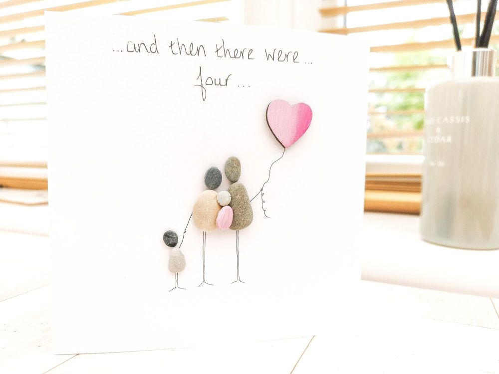New Baby Card Parents to be Baby Shower Pebble Art Picture Handmade - Fully