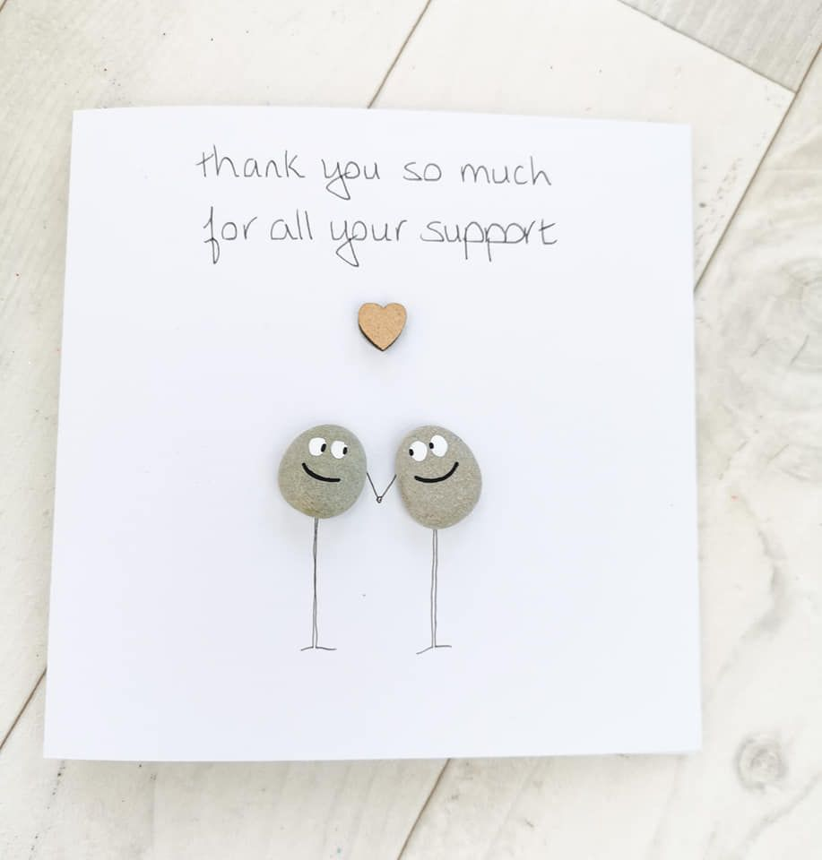 Thank you Card Handmade Pebble Art Picture , Fully Personalised