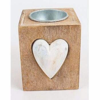 Heaven Sends Wooden heart Tea Light Holder 8cm