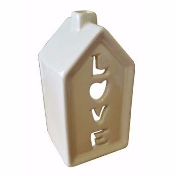 Porcelain Cream Love House Tea Light Holder