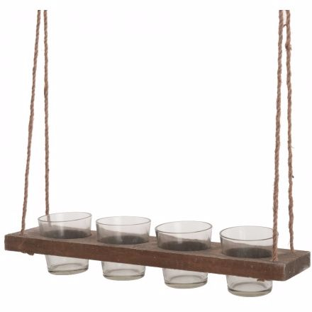 Rustic Hanging Wooden Tray Candle Holders 40cm