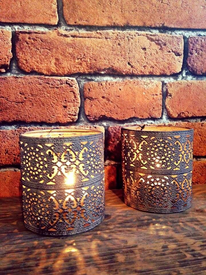 Set Of 2 Rustic Metal Candle Holder With Glass Insert