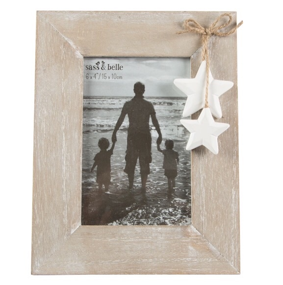 Country farmhouse style wooden photo frame with stars
