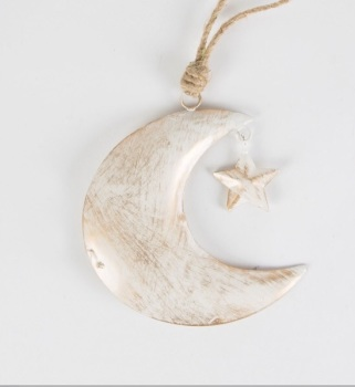 Gold white wash metal hanging moon and star