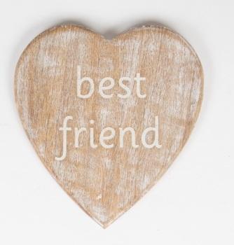 Rustic wooden heart Best Friend Coaster
