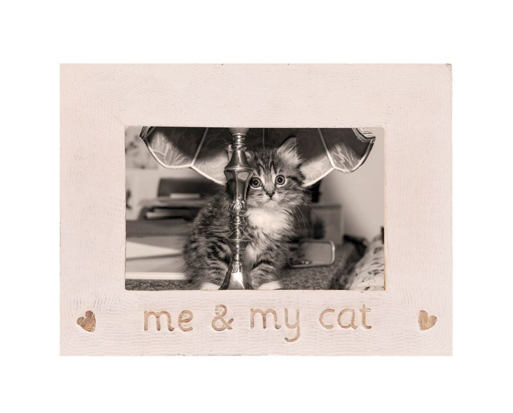 Me and My Cat Rustic wooden photo frame
