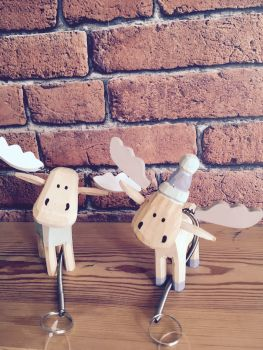 Chunky wooden spring reindeer