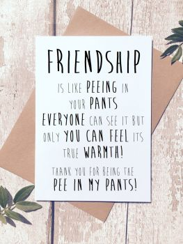 Friendship is like peeing your pants Greeting Card