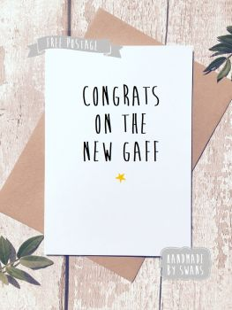 Funny New Home Card, Housewarming card, Good luck card, Congrats on the new gaff