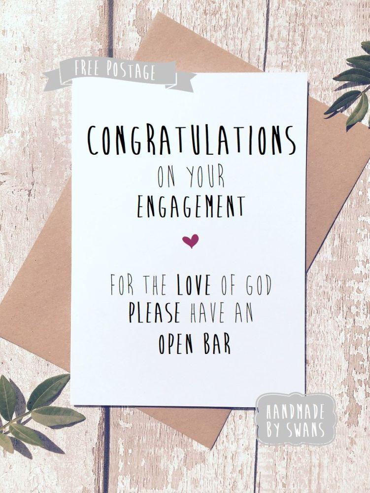 Please have an open bar engagement greeting card m4hsunfo