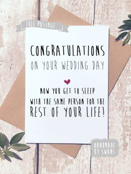 Sleeping with the same person for the rest of your life. Greeting Card