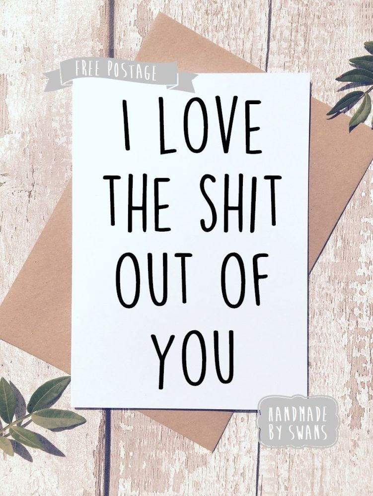 I love the shit out of you Valentines Day Greeting Card
