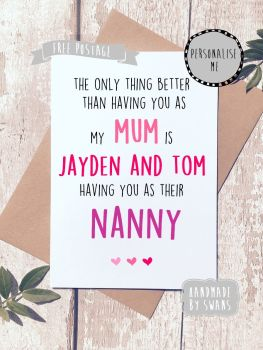 Personalised Mum / Grandma / Nanna Mother's day Greeting Card