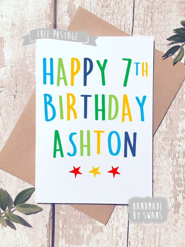 Personalised Name and Age Happy Birthday Greeting Card