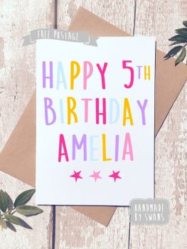 Personalised Name and Age Happy Birthday Greeting Card pink