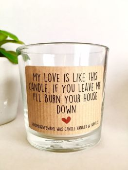 My love is like a candle- Vanilla and Waffles Wax Candle