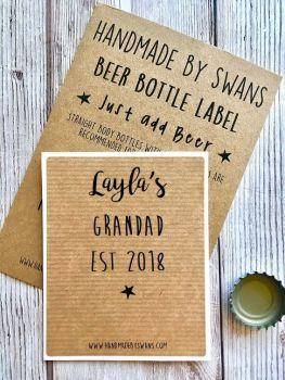 Personalised Grandad est Name and Date Beer bottle Label
