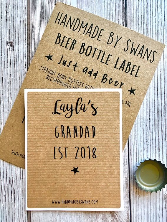 Personalised Grandad est Name and Date Beer bottle Label