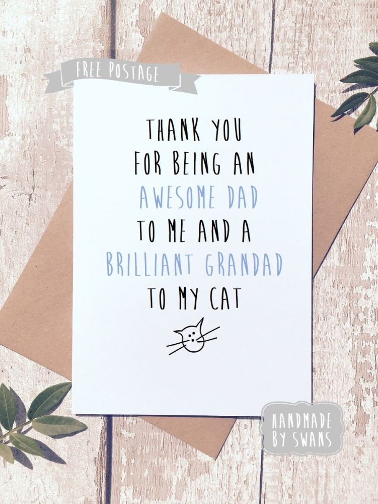 Awesome dad and brillaint grandad to my cat Father's day Greeting Card