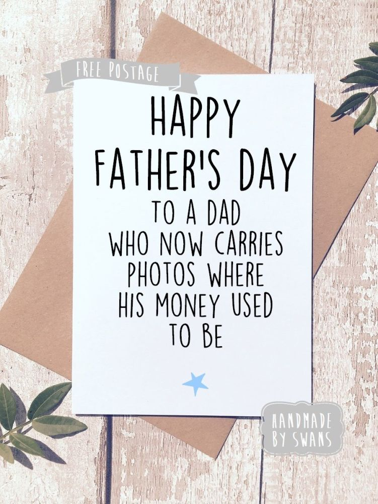 Now carries photos where money used to be Father's day Greeting Card