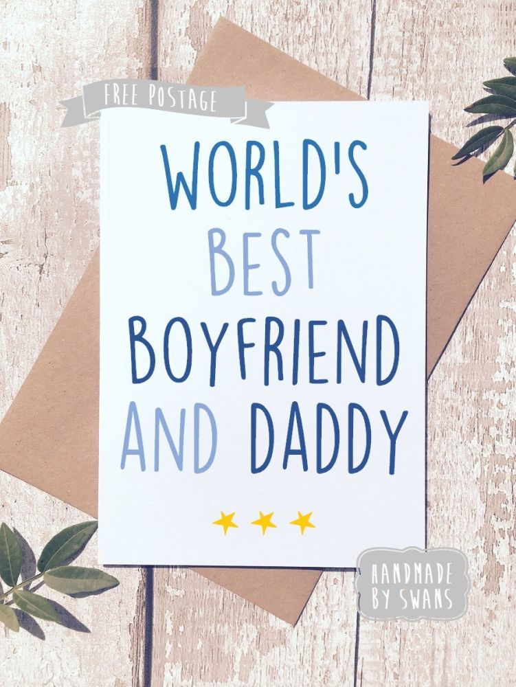 World's Best Boyfriend and Daddy Father's day Greeting Card