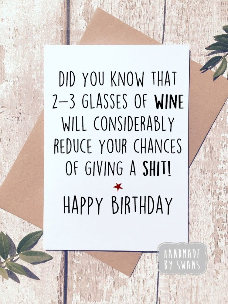 Happy Birthday 2-3 Glasses of wine Greeting Card