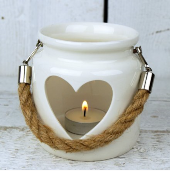 White Heart Tea Light Lantern with Rope Handles