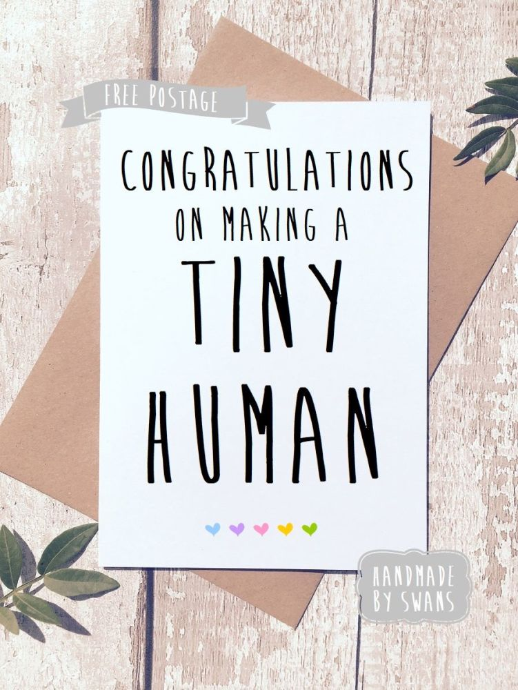 Funny New Baby Greeting Card, Congratulations on making a tiny human