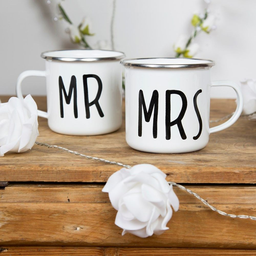 Mr and Mrs Enamel Mugs
