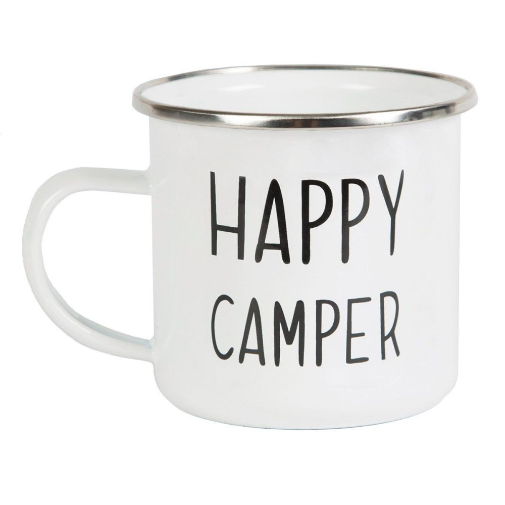 Happy Camper Enamel Mugs