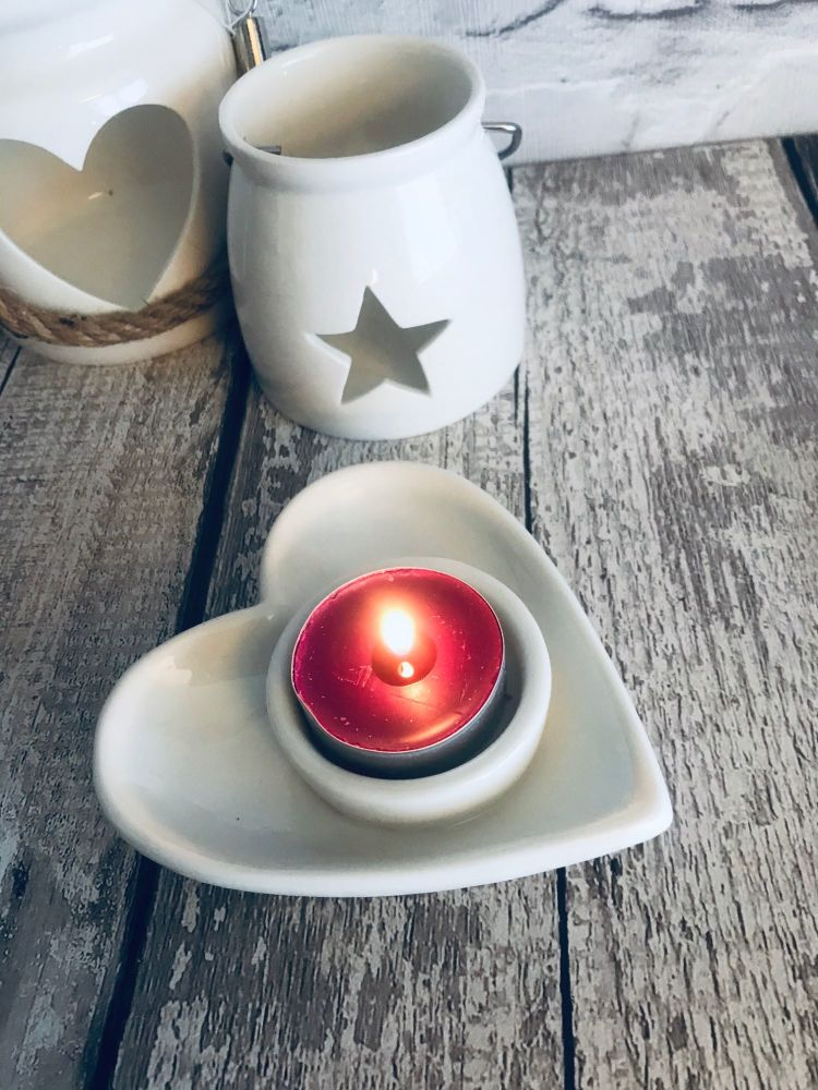 Ceramic heart t-light holder