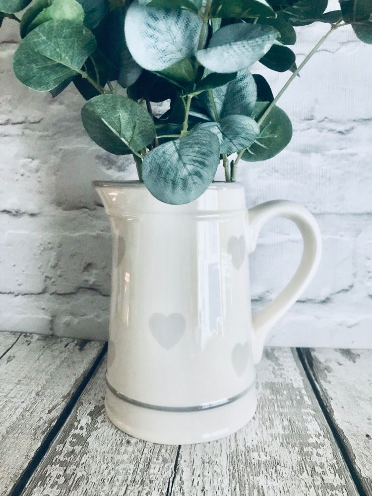 Grey Heart Ceramic Jug