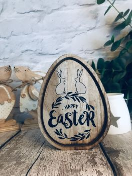 Happy Easter wooden egg