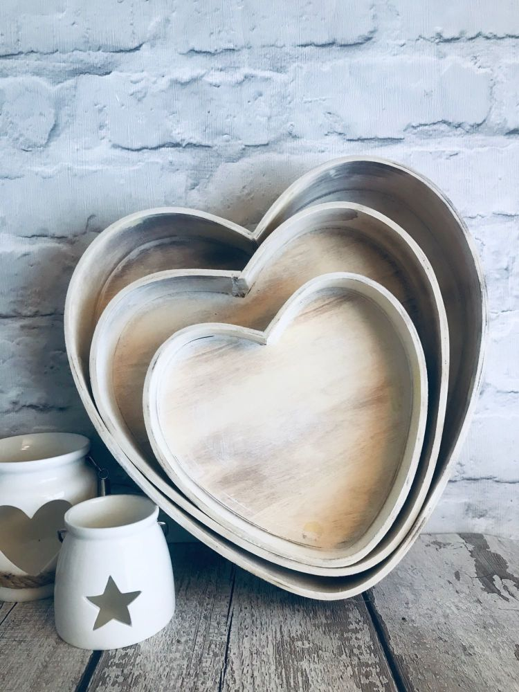 Heart Lime Wash Wooden Tray Set of 3