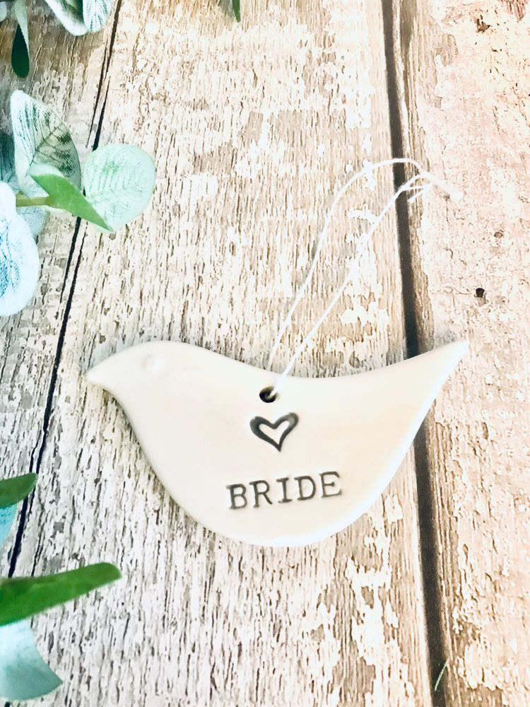 Heaven Sends Porcelain Dove with Bride text
