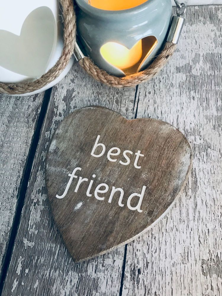 Rustic wooden heart Best Friend Coaster