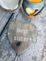 Rustic wooden heart Best Sister Coaster
