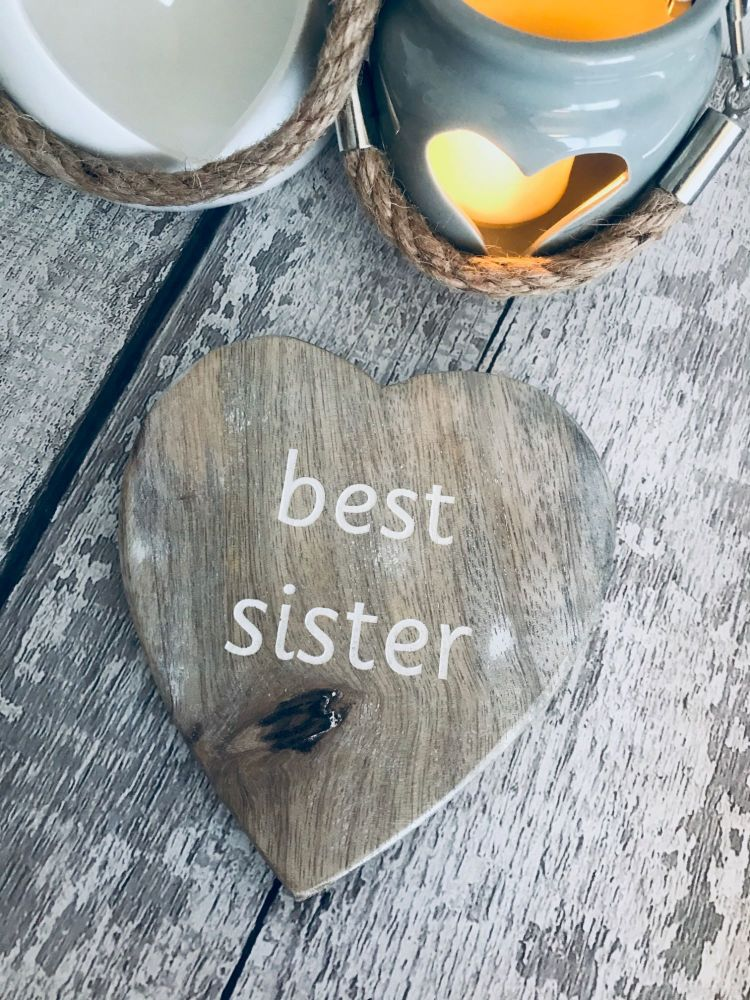 Rustic wooden heart Best Sister Coaster