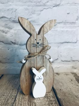 Wooden rabbit and bunny decoration