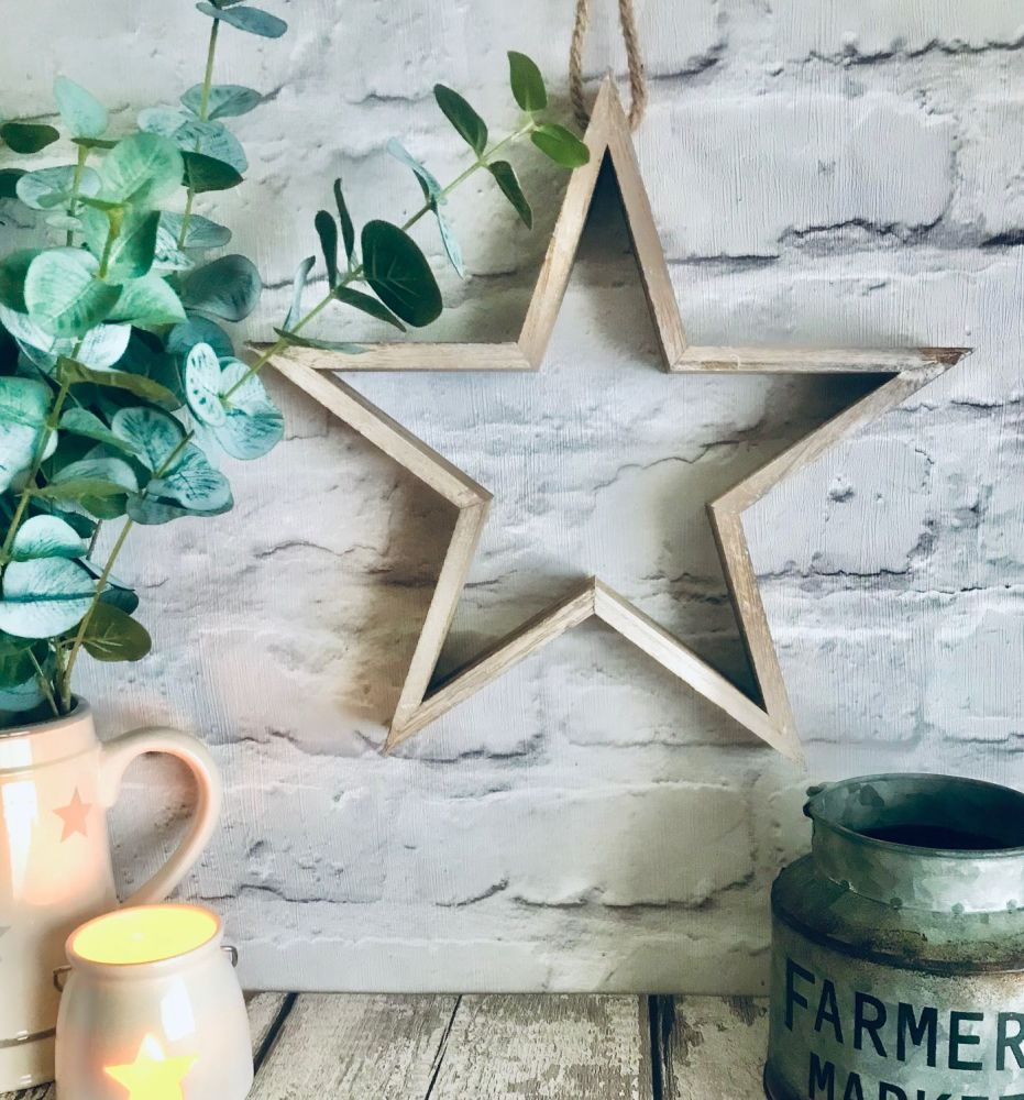 Small Natural Wooden Frame Star