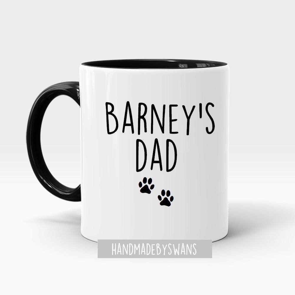 Personalised Dog Dad or Dog Mum black handle mug