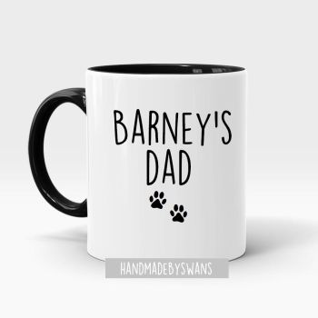 Personalised Dog Dad or Dog Mum black handle mug