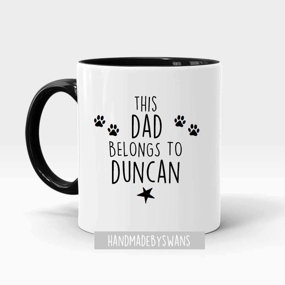 Personalised Dog Dad belongs to black handle mug