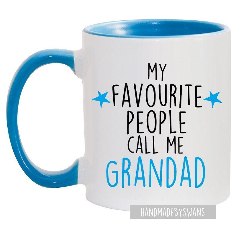 My favourite people call me Grandad blue handle mug
